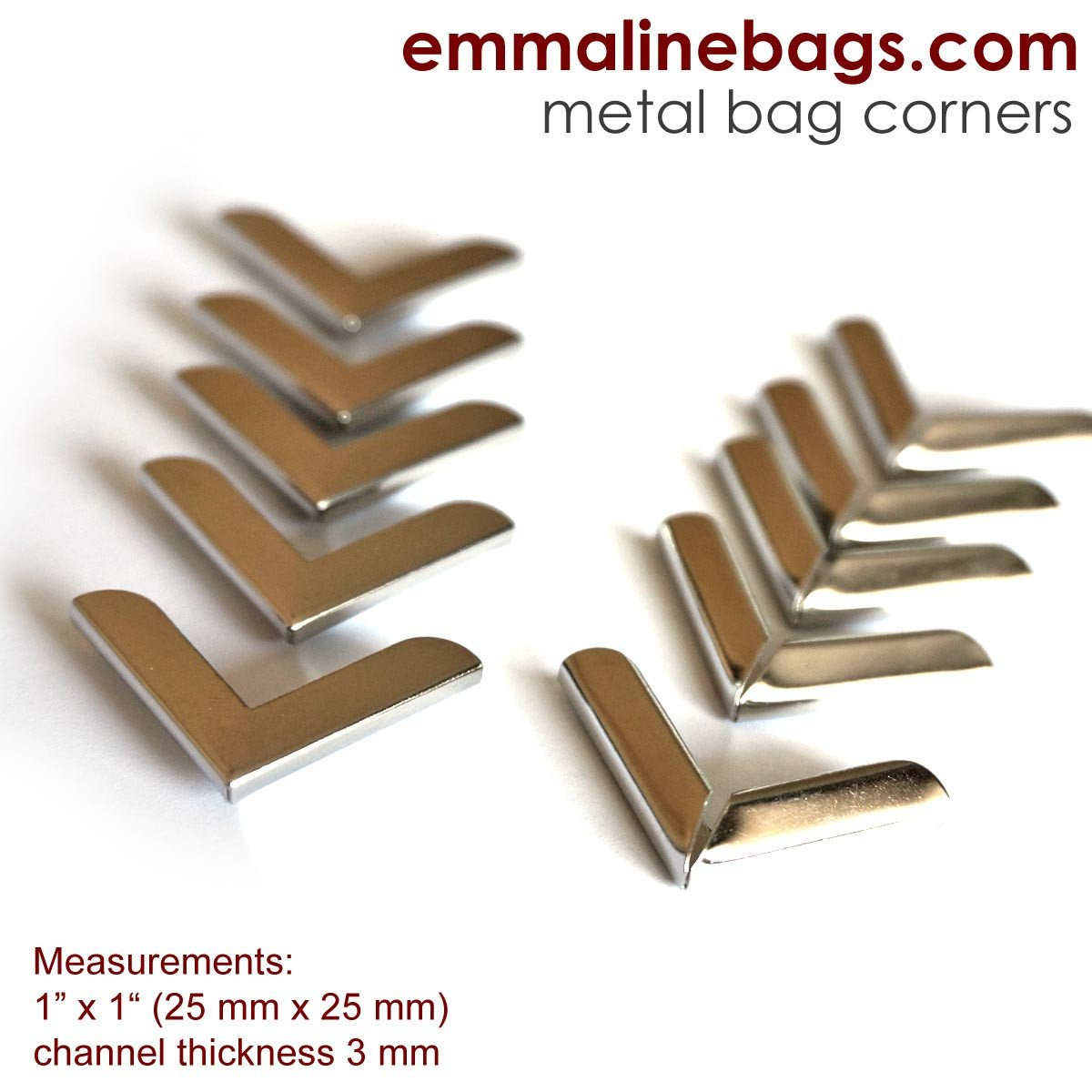 Emmaline - Metal Corners: 1 x 1 Silver Finish (10 Pack)