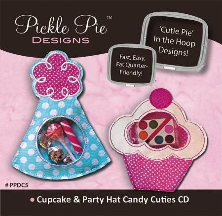 Pickle Pie Designs - Cupcake & Party Hat Candy Cuties - Machine Embroidery CD