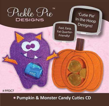 Pickle Pie Designs - Pumpkin & Monster Candy Cuties  - Machine Embroidery CD