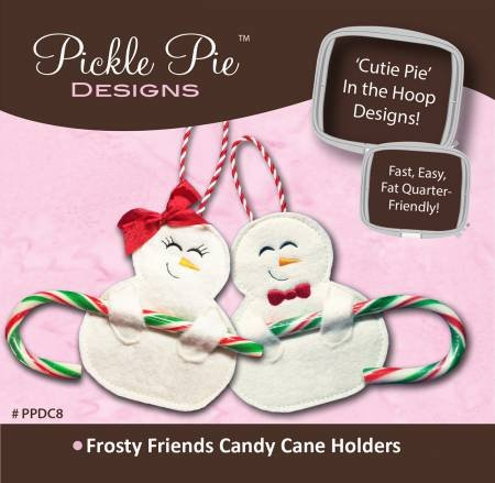 Pickle Pie Designs - Frosty Friends Candy Cane Holders CD  - Machine Embroidery CD