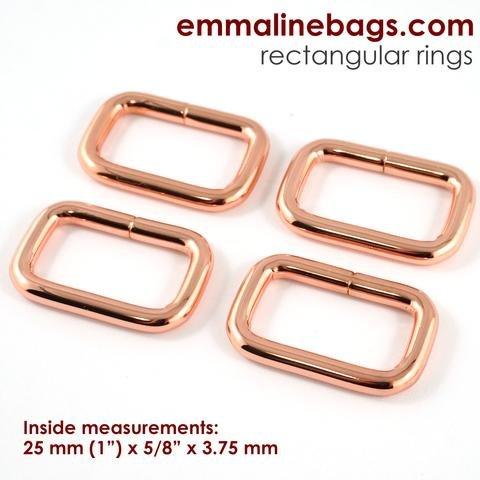 Emmaline - Rectangular Ring: 1 (25 mm) in Copper Finish (4 Pack)