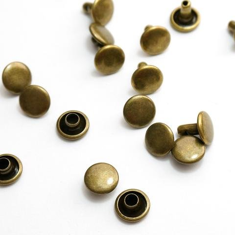 Emmaline - Double Cap Rivets - Small Antique Brass (50 pack)