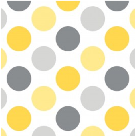 Camelot Fabrics - Gray/Yellow Polka Dot Printed Flannel