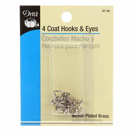 Dritz - 4 Coat Hooks & Eyes - Nickel Plated Brass
