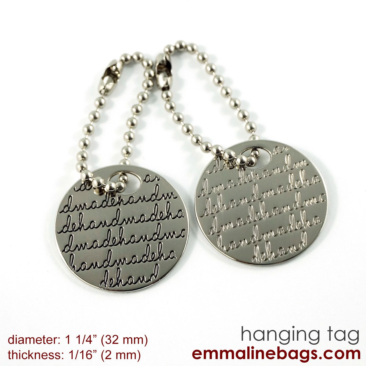 Emmaline - Bag Tag For Purses  - Silver With Black Letters