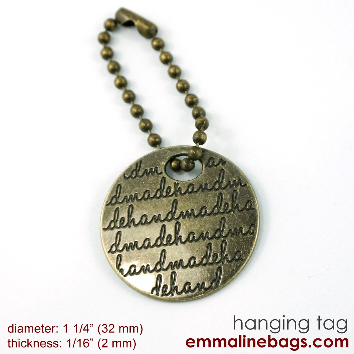 Emmaline - Bag Tag For Purses  - Antique Brass with Blk letters