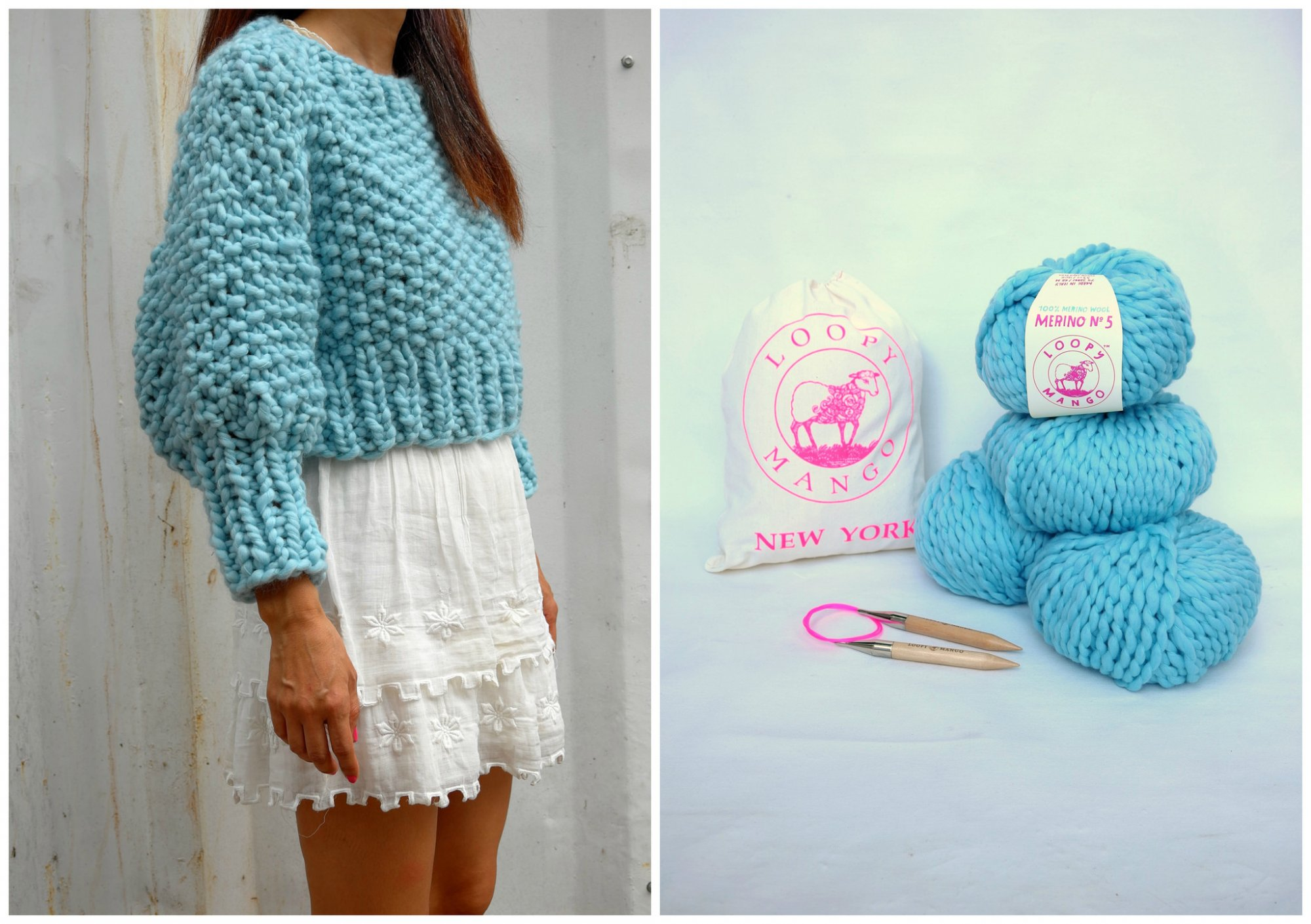 Loopy Mango - DIY Kit - Super Cropped Sweater - Lady Blue
