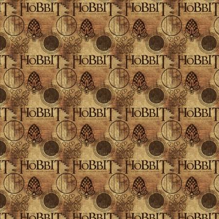 Camelot Fabrics - The Lord of the Rings & The Hobbit - The Hobbit Logo - Brown