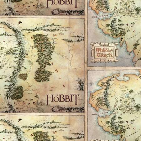 Camelot Fabrics - The Lord of the Rings & The Hobbit - The Hobbit Map - Tan