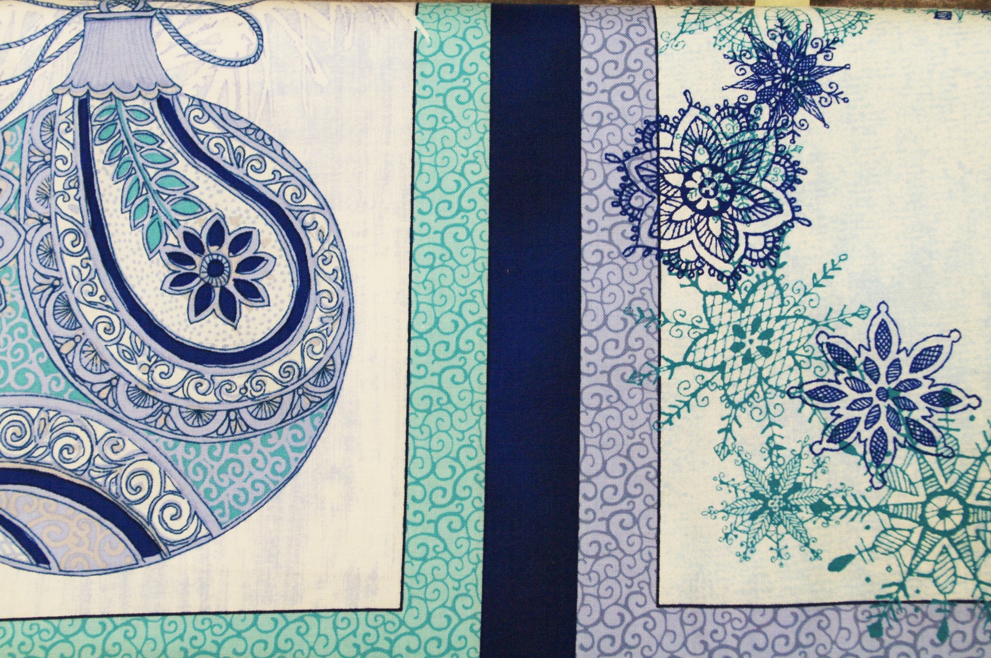 International Textiles - Winter Frost  - Ornament & Wreath Panel