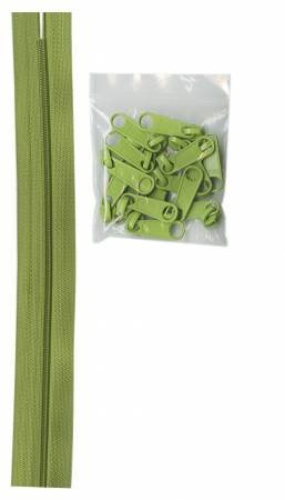 ByAnnie - Zippers by the Yard- Apple Green with 16 Pulls