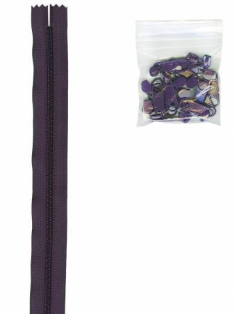 ByAnnie - Zippers by the Yard- Eggplant with 16 Pulls