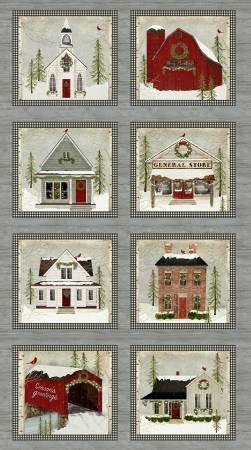 Benartex Snow Village Panel Multi 6880-99