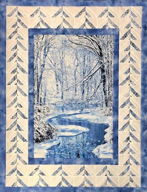 Pine Needles Winter Scene Quilt Kit 38 x 50