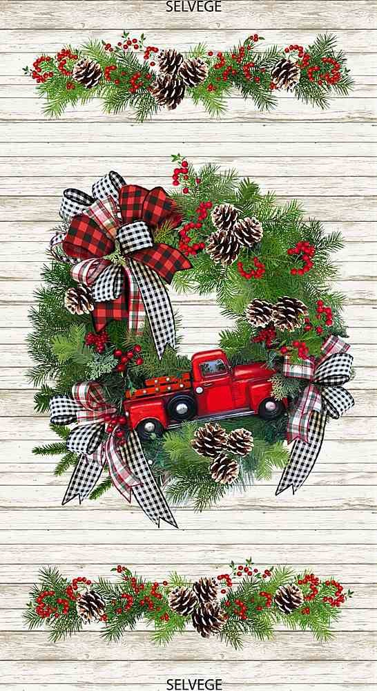 Red Truck Wreath Panel