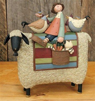 Girl on Sheep w/chickens