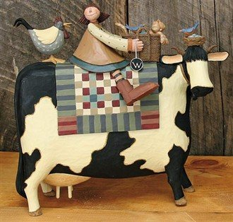 Girl on Large Cow  w/chicken  & kitty in basket