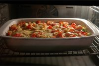 Johnsonville sausage italian pasta bake great for quilting retreats and pot luck suppers