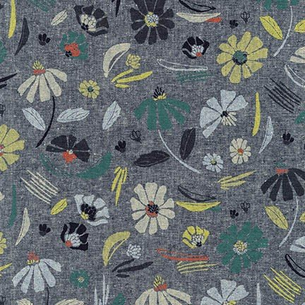 Forage Fabric by Robert Kaufman Indigo Floral AFH17981-62