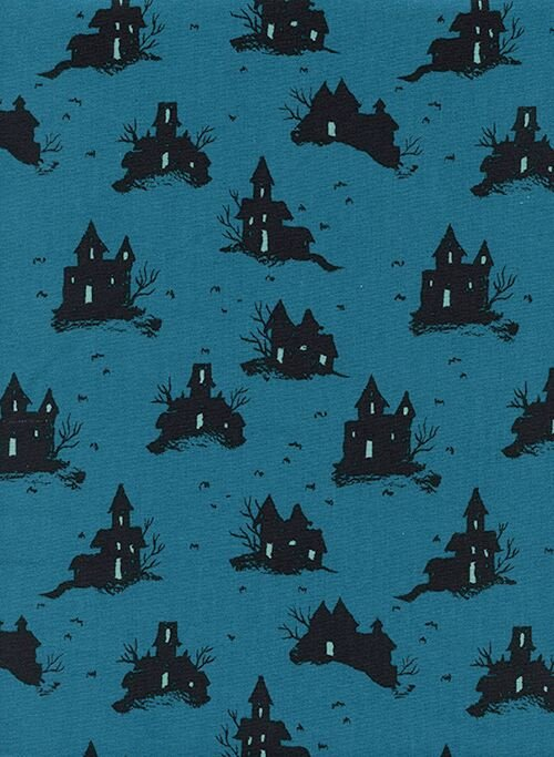 Lil' Monsters Trick or Treat Teal Unbleached Cotton C5128-001