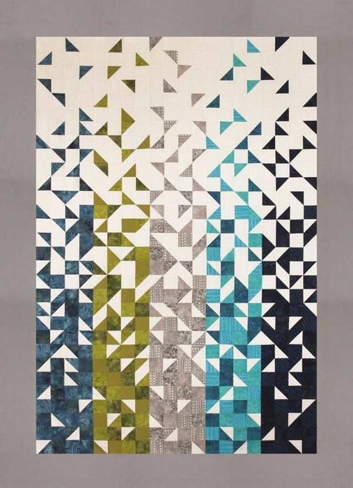Shattered Quilt Kit 57.5 x 80 White Background  Grey Border Thangles