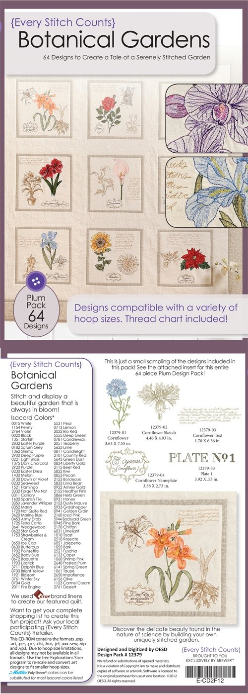 ESC Botanical Gardens Embroidery Design CD