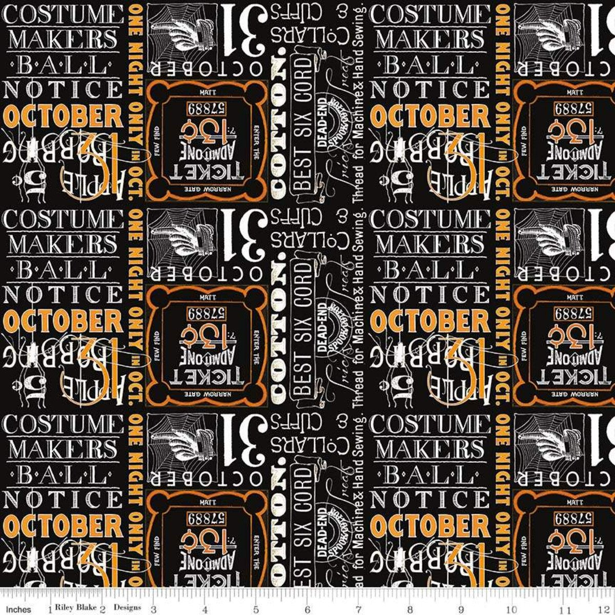 Costume Maker's Ball Ticket Text Black C8368-BLACK