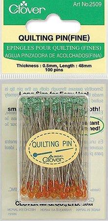 Clover Fine Quilting Pins-Orange/Green