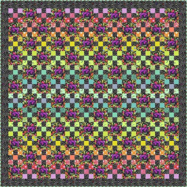 Daisy Chain Monkey Wrench Dark Quilt 73 1/2 x 73  1/2