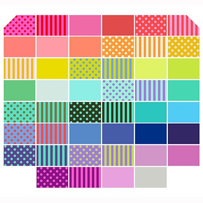 All Stars Coordinates 5 In. Squares 46 PCS Tula Pink (Solids Pom Poms and Tent Stripes)