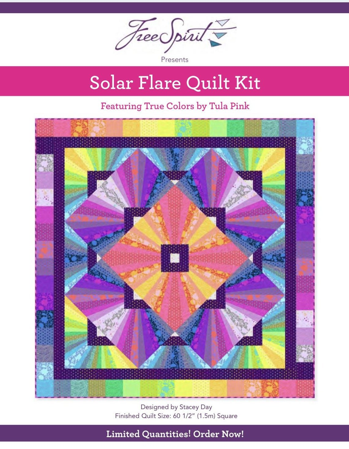 Solar Flare Quilt Kit by Tula Pink featuring True Colors