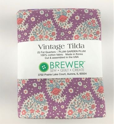 Vintage Tilda Plum Garden Fat Quarter Pack Plum