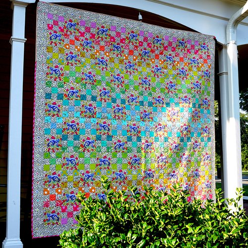 Daisy Chain Monkey Wrench Light Quilt 73 1/2 x 73  1/2