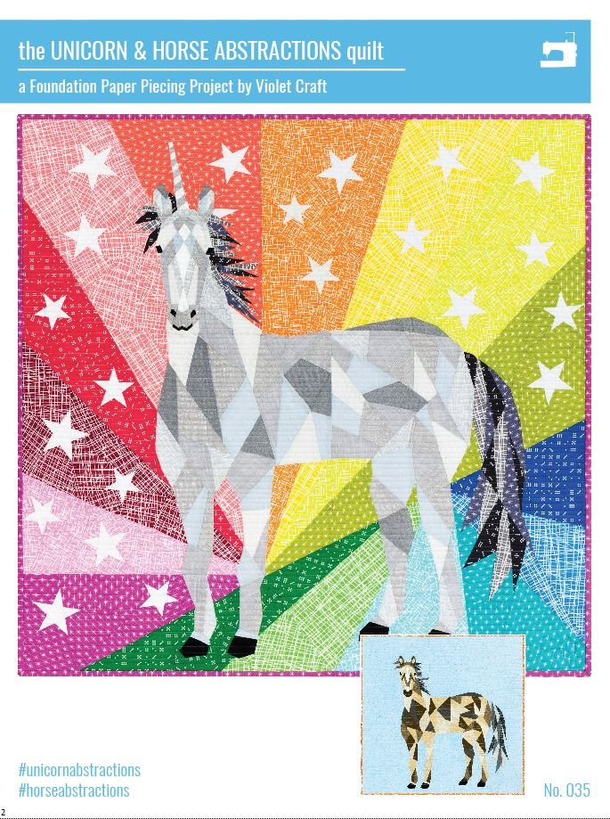 The Unicorn and Horse Abstractions Quilt Pattern Violet Craft