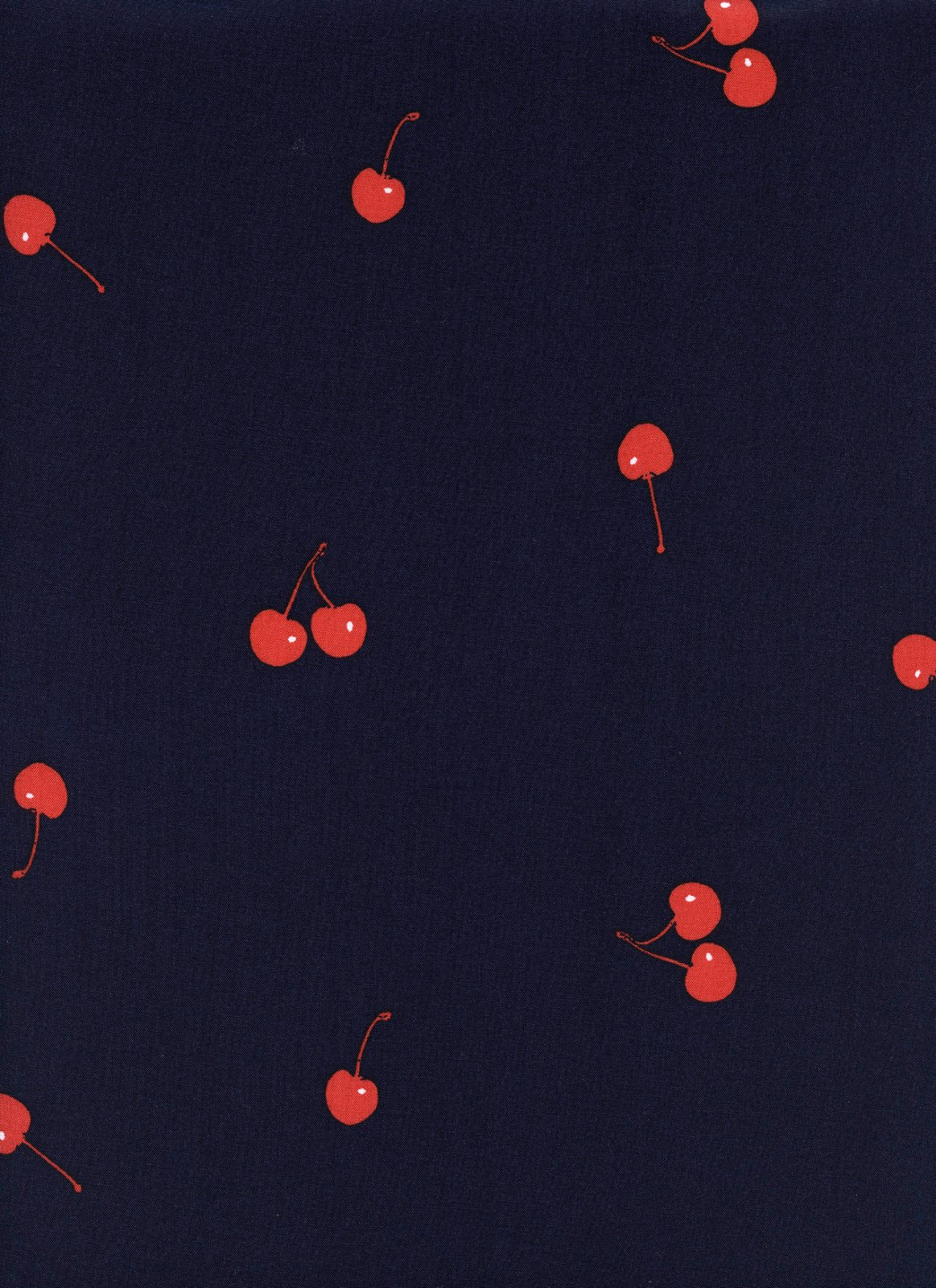 Cherries Navy Rayon