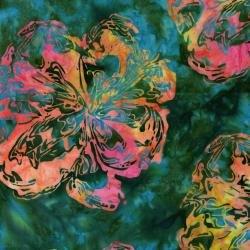 Blossom Batiks: Valley Marble Flower in Hummingbird