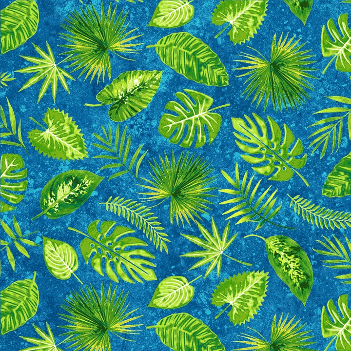 Rainforest Romp - Tropical Foliage on Blue
