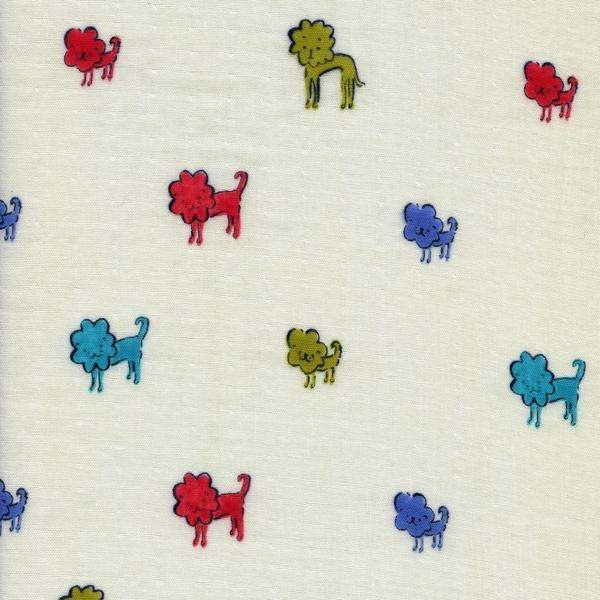 Dog Lions in Blue - Double Gauze