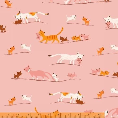Tiger Lily Marching Cats Cotton Lawn Pink