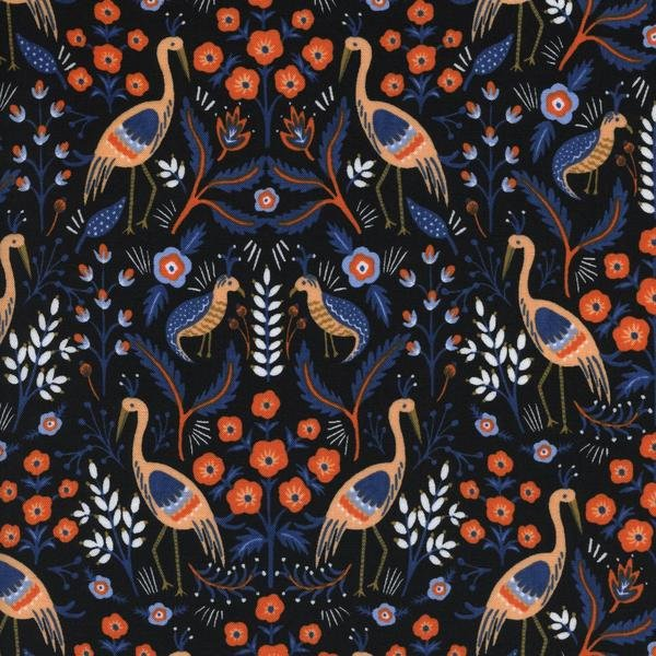 Les Fleurs: Tapestry in Black