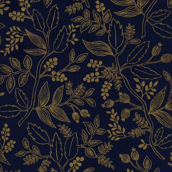 Les Fleurs: Queen Anne in Navy (Metallic)