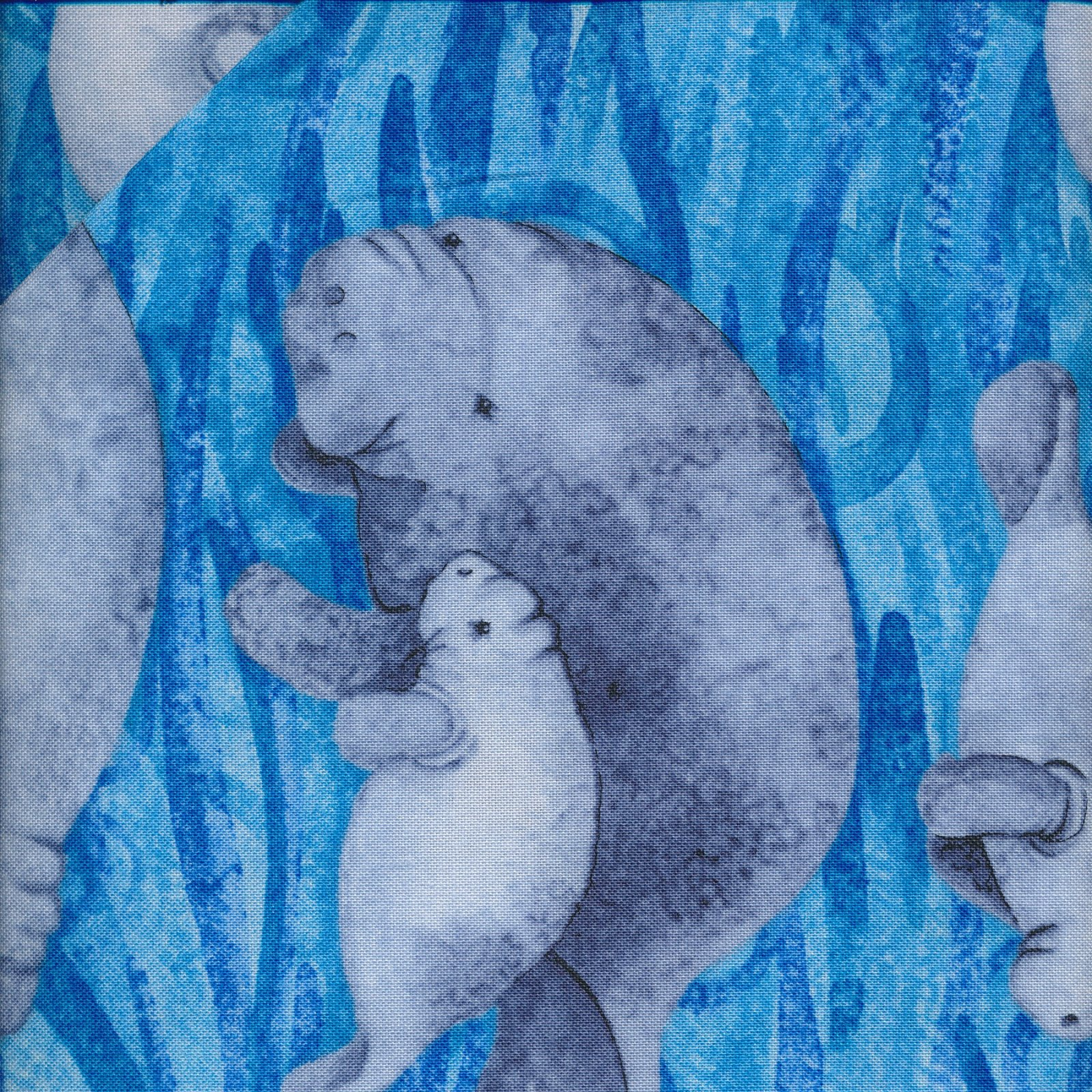 manatees on blue