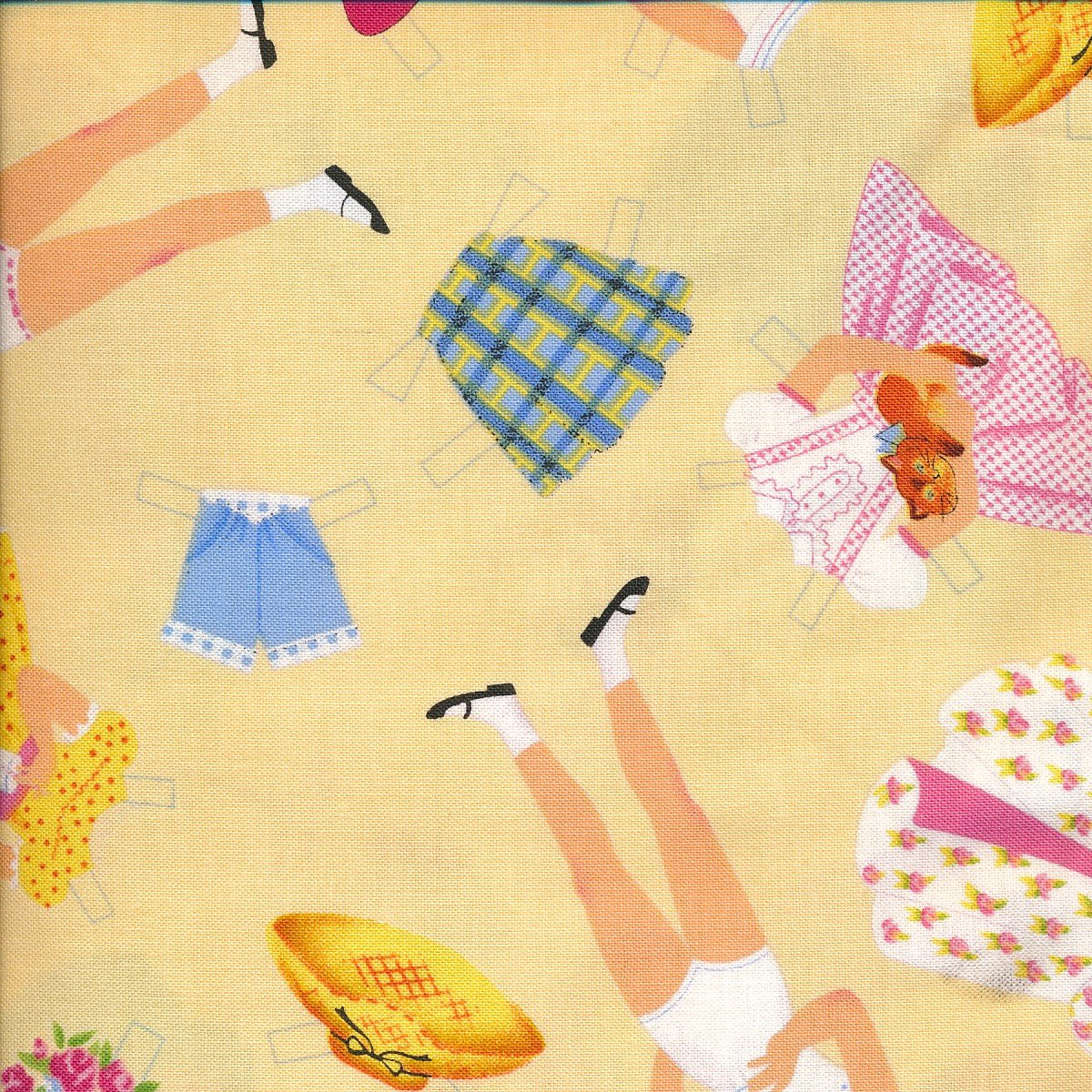 Paper Dolls on yellow
