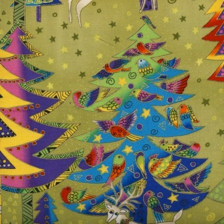 Laurel Burch Holiday Celebrations Trees Olive