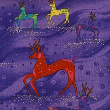Laurel Burch Holiday Celebrations Reindeer Purple