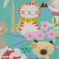 Alexander Henry: Meowi Cat Fabric in Aqua