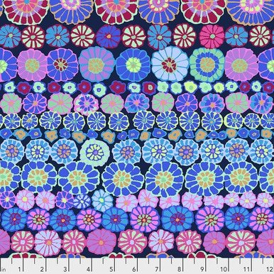 Row Flowers in Blue