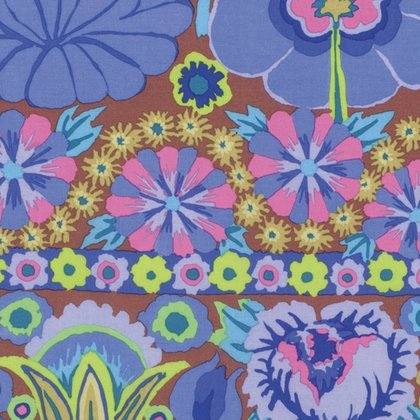 Artisan: Embroidered Flower Border in Blue