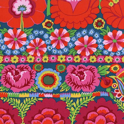 Artisan: Embroidered Flower Border in Red