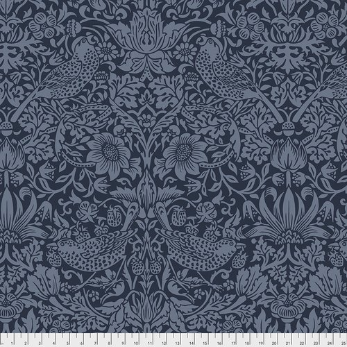Morris & Co.: Strawberry Thief Navy - 108 wide Backing fabric